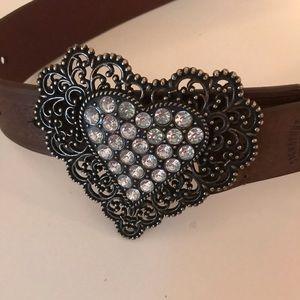 Levi's Western Style Rhinestone Heart Buckle Belt